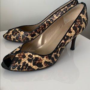 Stuart Weitzman-Rafia Leopard Peep toe -10.5 us